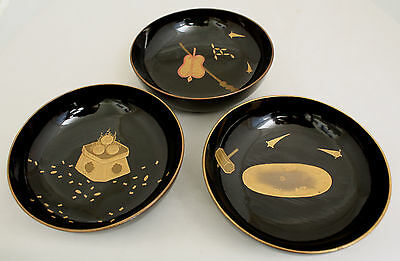 Set of Three Old to Antique Japanese Lacquer Wood Bowls