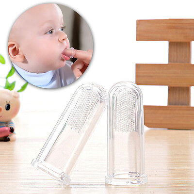 2pcs Clear Children Teeth Massage Soft Silicone Baby Finger Toothbrush Brushes