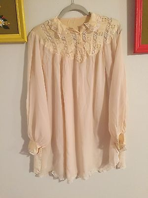 Vintage 100% Silk Neiman Marcus Victorian Lace Sheer Long Sleeve Layer Dress