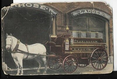 firefighter early rare horse drawn fire wagon postcard early 1900s