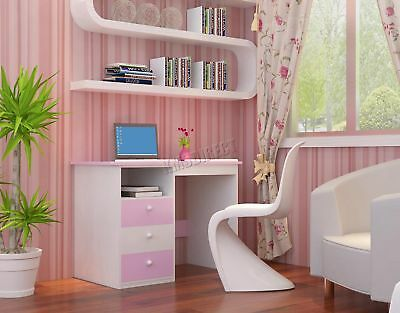 FoxHunter Tiltable Kids Study Desk Computer Drawing Lid Table KSD01 Pink White