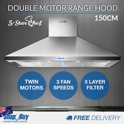 Commercial Rangehood Stainless Kitchen Canopy BBQ Exhaust Fan Range Hood 150cm