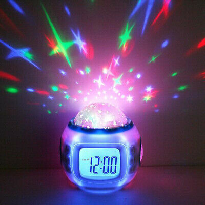 Sky Star Baby Children Room Night Light Projector Lamp Bedroom Alarm Music Clock