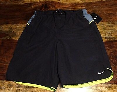 e53c27e27e Nike Men's Volley 9 Inch Swim Trunks Shorts Nike NESS6413 Black Gray Neon  Yellow