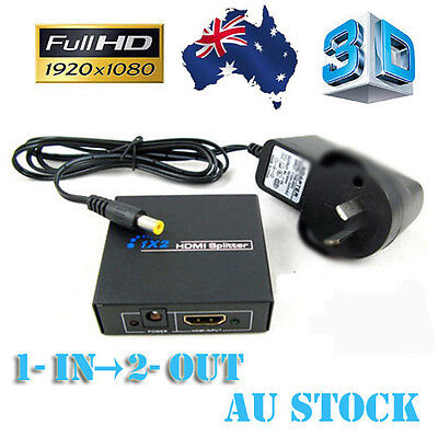 1 IN 2 OUT HDMI Splitter Duplicator Amplifier Full HD 1080P & AC Adapter AU NSW