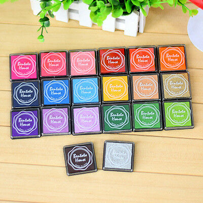 UK Set of 20 Colors Rubber Stamps Pigment Ink Pads For Paper Wood Fabric Craft