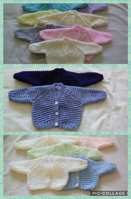 New Hand Knitted Cardigans For Early (3-5Lb) And Newborn Baby