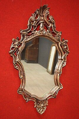 GRANDE MIRROR VENICE CARVED GOLDEN SILVER PLATED ITALY PERIOD '900 (H 138 cm)