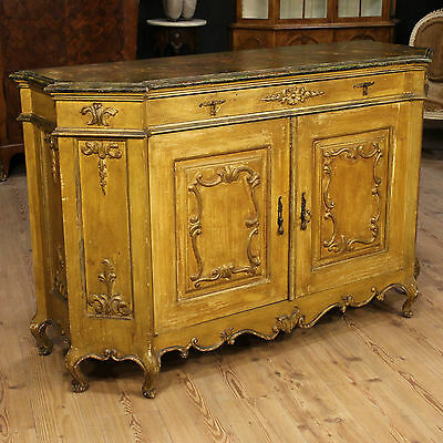 Cupboard Lacquered Golden Imitation Marble Italy Venice Period '900 Sideboard