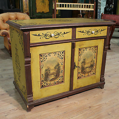 SCENOGRAPHIC CUPBOARD RUSTIC HAND-PAINTED LANDSCAPES PERIOD '900 (L 120 cm)