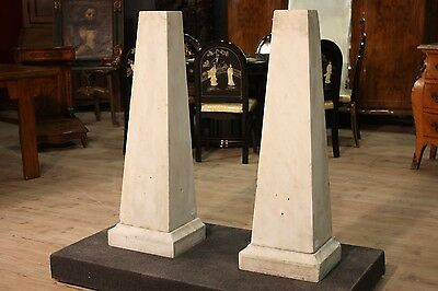 BELLA PAIR OF COLUMNS DECORATIONS PYRAMIDS WALL WHITE MARBLE '800 (H 105 cm)