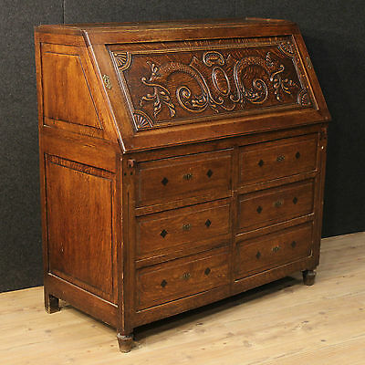 Grande Fore Secretary Desk Drawers Carved Oak North Europe Holland End '800