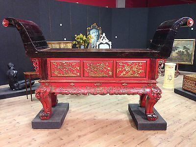 Console altar chinese furniture wood lacquered golden table antique style 900 XX