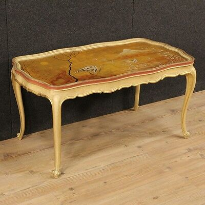 Low table italian living room lacquered golden hand painted wood antique style