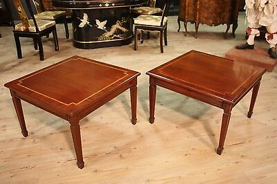 Pair low bedside wood mahogany inlay tables style louis XVI antique style 900 XX
