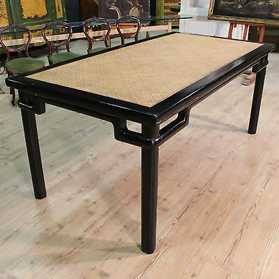 GRANDE TABLE EASTERN WOOD LACQUERED BLACK LEVEL wood INWEAVED '900 L 205 cm