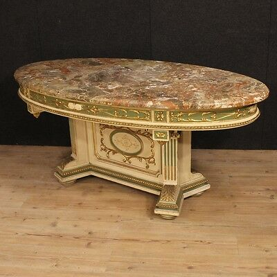Table Oval Wood Lacquered Golden Level Marble Living Room Dining Antique Style