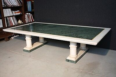 SUPERBE TABLE DE SALON MARBRE BLANC CARRARA marqueté '900 (L 210 cm)
