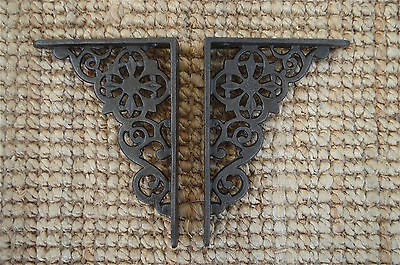 Pair of cast iron small Victorian wall shelf brackets bracket 5 inch AL30