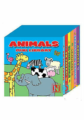 Learn Animals Mini Library Set Of 6 Board Learning Books Jungle Farm 1901/anml