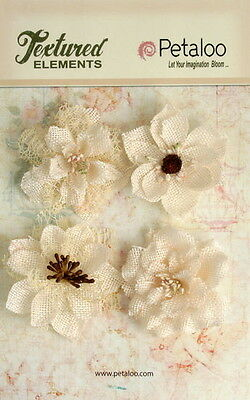Burlap Flowers IVORY Approx 4 x 55 to 60mm across & varied centres Petaloo BUR