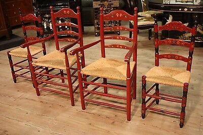 LOVELY GROUP 2 ARMCHAIRS 2 SEDIE STRAW WOOD PAINTED PERIOD '900 (H 100 cm)