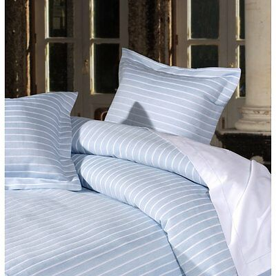 Stripes sky blue luxury pure cotton duvet cover inc 2 pillowcases