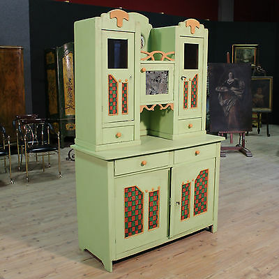 LOVELY CUPBOARD DOUBLE BODY LIBERTY PAINTED PERIOD FIRST half '900 (H 200 cm)