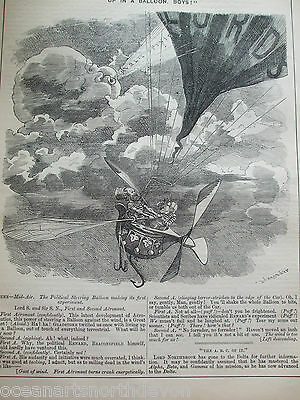 Antique Print 1884 Punch Or The London Charivari Up In A Balloon Boys! Political