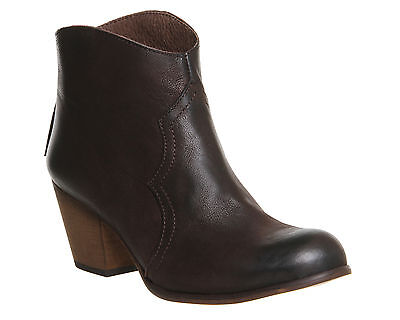 Womens Office Brown Leather Zip Ankle Boots Size UK 5 Ex Display