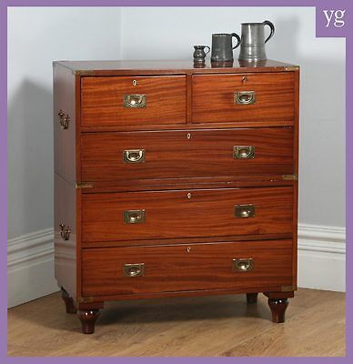 Antique English Victorian Colonial Mahogany & Brass Campaign Chest of Drawers