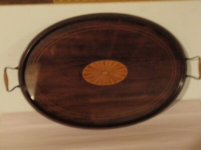 Antique Oval Inlaid Mahogany Wood & Glass Serving Tray w/ Brass Handles