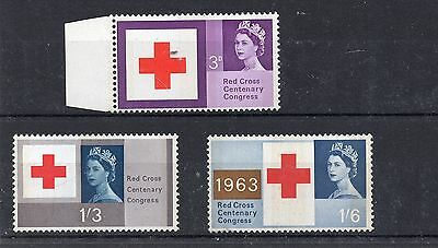 GB 1963 RED CROSS Phosphor Stamps SET 3v UNMOUNTED MINT MNH SG642p-644p REF:X412