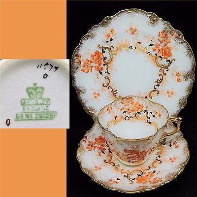Aynsley 1896 Late Victorian 291231 11577 Antique English Bone China Trio Set