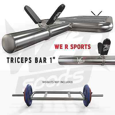 """Triceps Bar Set With Spring Collar Hammer Curl Standard 1"""" Barbell Fitness Gym"""