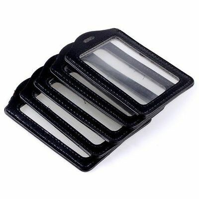 5pcs Black Faux Leather Business ID Credit Card Badge Holder Clear Pouch Case