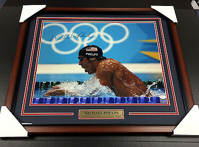 Michael Phelps Olympic Gold Medal Signed Autographed Framed 16X20 Photo #2 Jsa