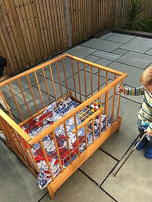 Vintage Kibofa wooden play pen with base