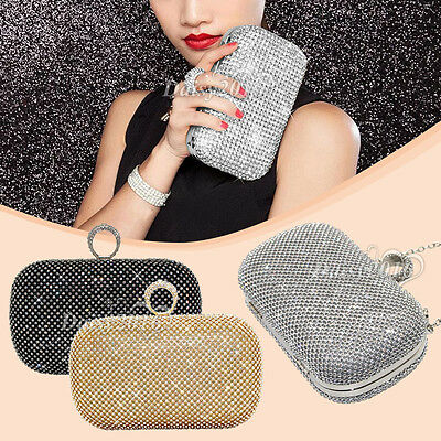 Women Sparkly Glitter Diamante Crystal Evening Clutch Handbag Wedding Purse Box