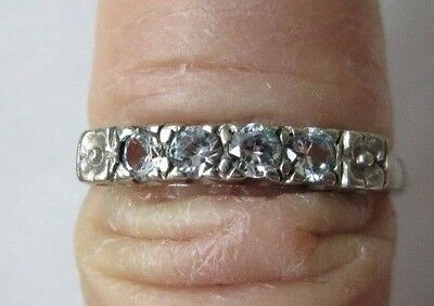 10k White Gold Ring Cubic Zirconia Wedding Band Friendship Size 6 1/2 Vintage