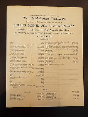 Wenz&Mackensen Agents of Julius Mohr Exporter of Wild Animals Vintage Price List