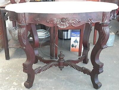 Spectacular Victorian Rococo Mahogany Turtle Marble Top Foyer Table