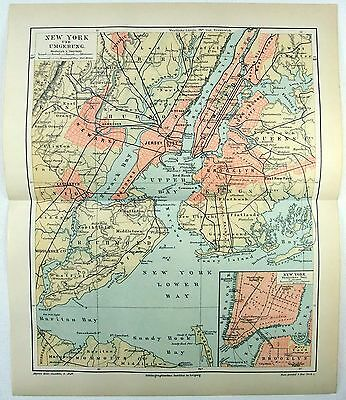 Original 1888 Map of New York City and Vicinity by Meyers
