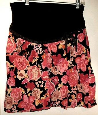 Motherhood Maternity Flair Black Skirt w/ Pink & Red Roses Size S So Beautiful
