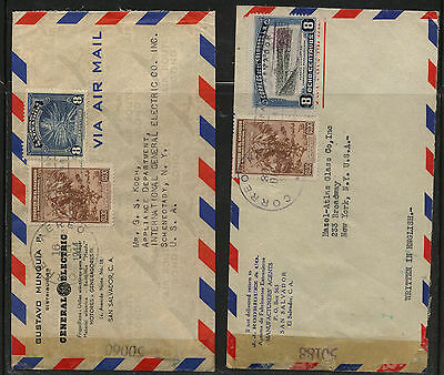 El  Salvador   2  censor covers to  US  #'s  50188  and  50060      MS0117