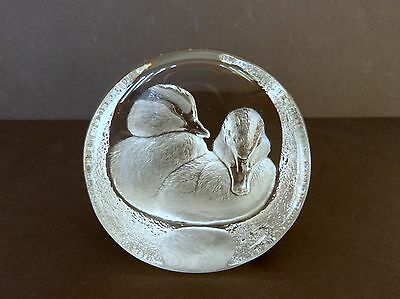 Signed Mats Jonasson Signature Collection 24% Lead Crystal Ducklings Paperweight