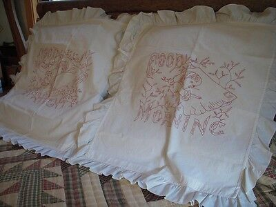 Pair of Antique Redwork Hand Embroidered Shams : Morning - Night