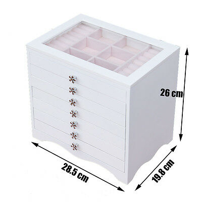 7 Layers Glossy Wooden Jewelry Gift Box Storage Case Earring Container W/ Mirror