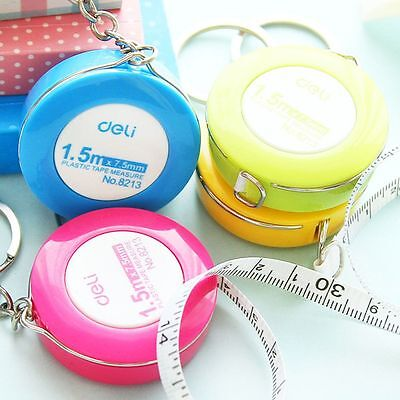 Hot Portable Retractable Ruler Centimeter/Inch Plastic Key Chain Tape Measure