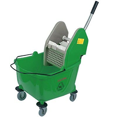 Green 24L Janitors Cleaning Mop Bucket with Wringer and Heavy Duty Wheels - With